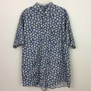 Blue Hawaiian Button Down Shirt - XL Tall